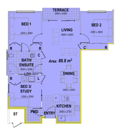 three bedroom apartment facing south floor plans